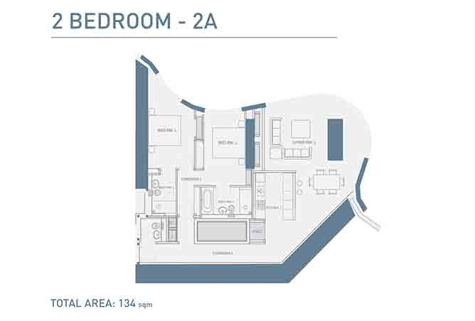 Burj Mohammed Bin Rashid Floor Plan 2 Bedroom Type 2a Apartment 1442 Sqft