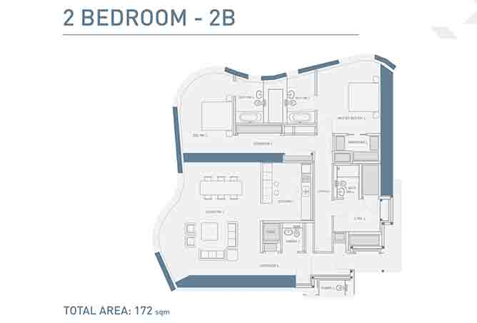 Burj Mohammed Bin Rashid Floor Plan 2 Bedroom Type 2b Apartment 1851 Sqft