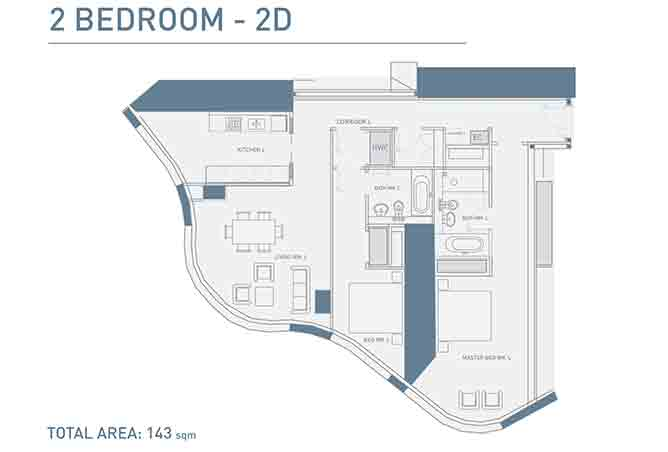 Burj Mohammed Bin Rashid Floor Plan 2 Bedroom Type 2d Apartment 1539 Sqft