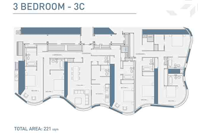 Burj Mohammed Bin Rashid Floor Plan 3 Bedroom Type 3c Apartment 2379 Sqft
