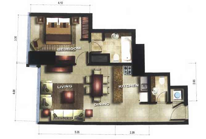 Gate Tower 1 Floor Plan 1 Bedroom Apartment 656 Sqft