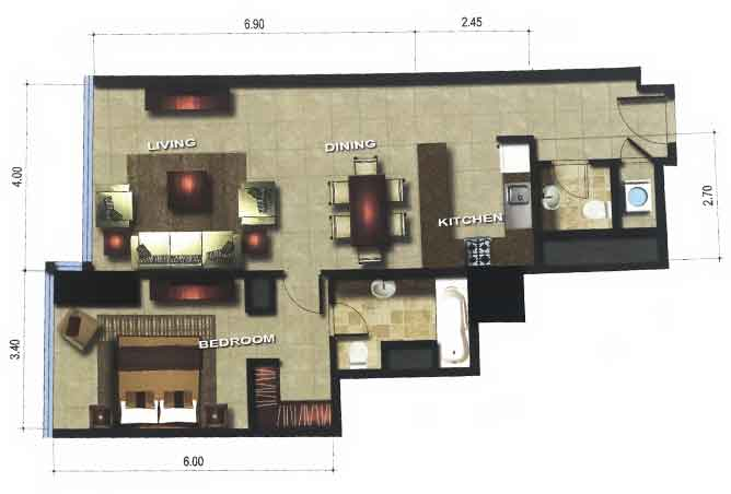 Gate Tower 1 Floor Plan 1 Bedroom Apartment 828 Sqft Type A