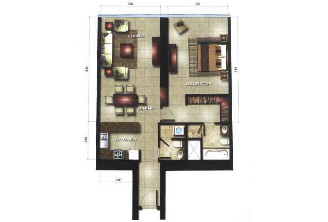 Gate Tower 1 Floor Plan 1 Bedroom Apartment 947 Sqft Type A