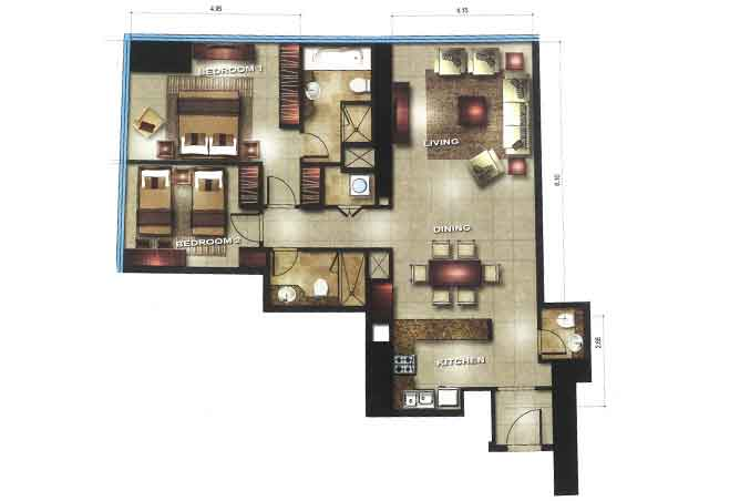 Gate Tower 1 Floor Plan 2 Bedroom Apartment 1205 Sqft