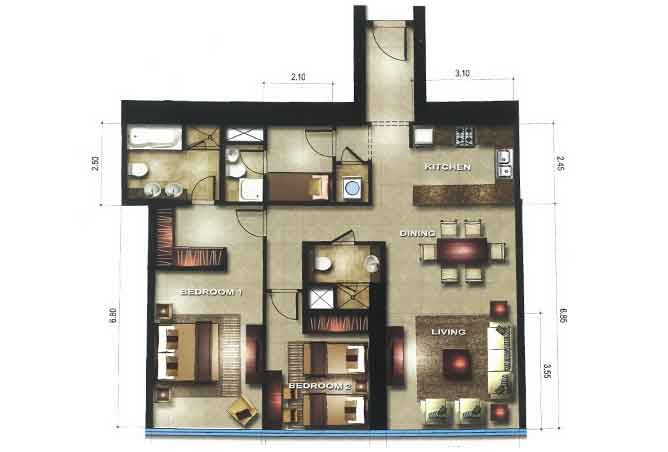 Gate Tower 1 Floor Plan 2 Bedroom Apartment 1248 Sqft