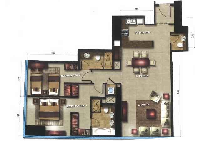 Gate Tower 1 Floor Plan 2 Bedroom Apartment 1291 Sqft
