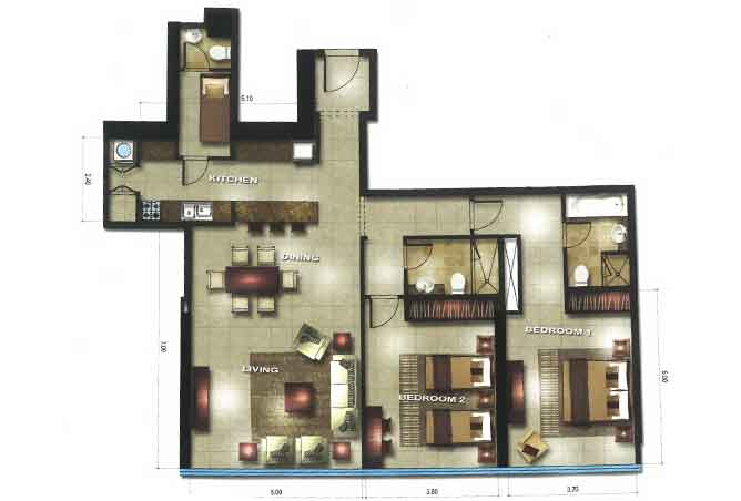 Gate Tower 1 Floor Plan 2 Bedroom Apartment 1420 Sqft