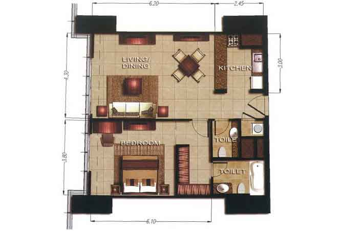 Gate Tower 2 Floor Plan 1 Bedroom Apartment 747 Sqft
