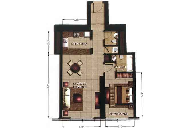 Gate Tower 2 Floor Plan 1 Bedroom Apartment 825 Sqft