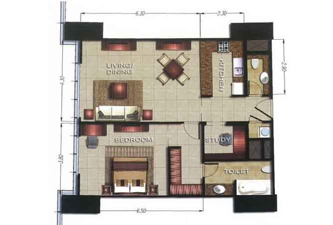Gate Tower 2 Floor Plan 1 Bedroom Apartment 895 Sqft