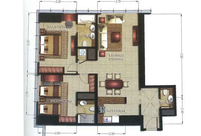 Gate Tower 2 Floor Plan 2 Bedroom Apartment 1132 Sqft
