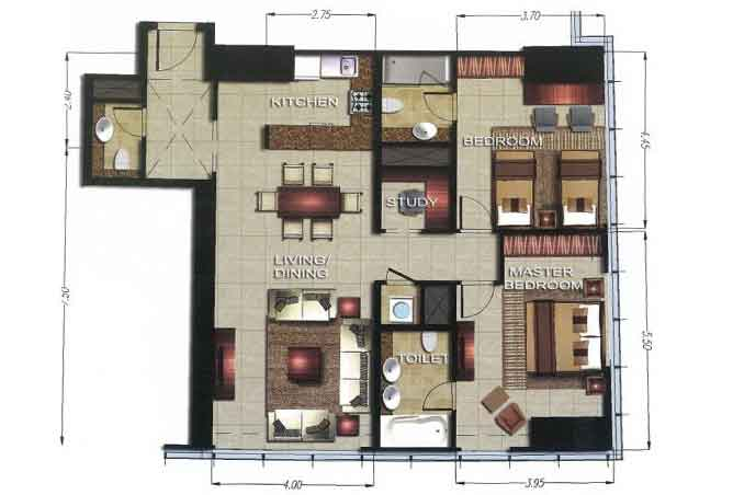Gate Tower 2 Floor Plan 2 Bedroom Apartment 1212 Sqft