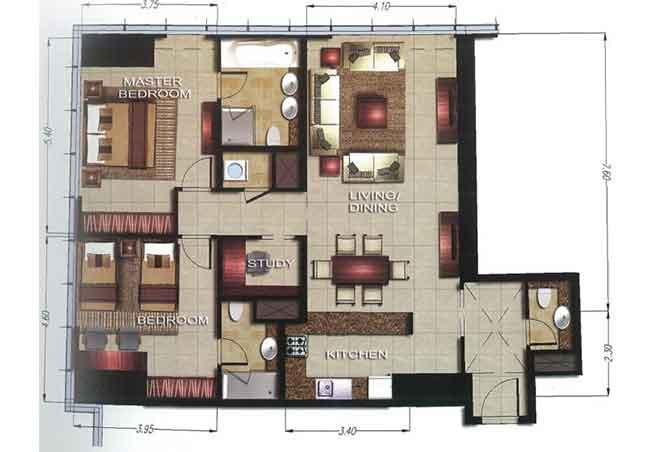 Gate Tower 2 Floor Plan 2 Bedroom Apartment 1253 Sqft