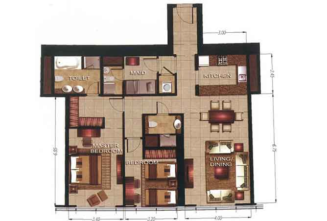 Gate Tower 2 Floor Plan 2 Bedroom Apartment 1255 Sqft
