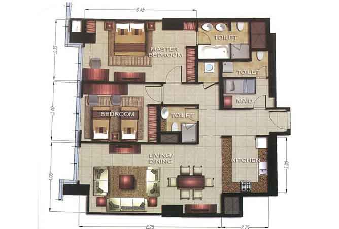Gate Tower 2 Floor Plan 2 Bedroom Apartment 1277 Sqft