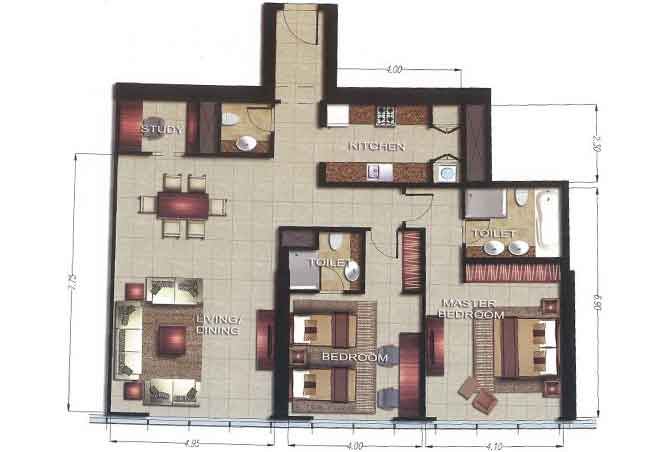 Gate Tower 2 Floor Plan 2 Bedroom Apartment 1438 Sqft
