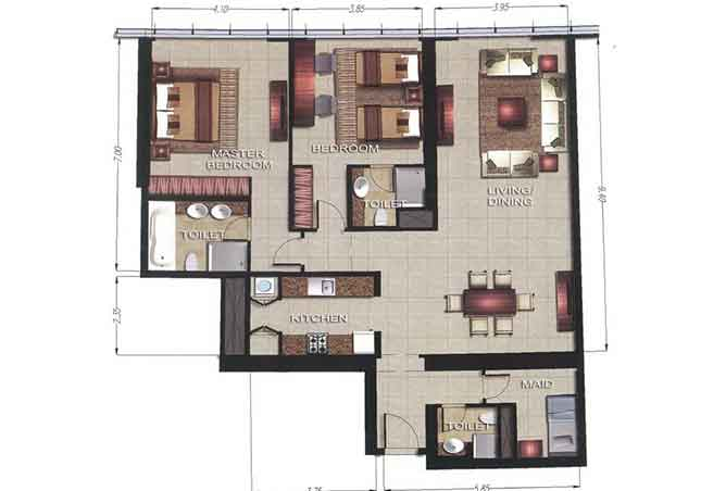 Gate Tower 2 Floor Plan 2 Bedroom Apartment 1502 Sqft