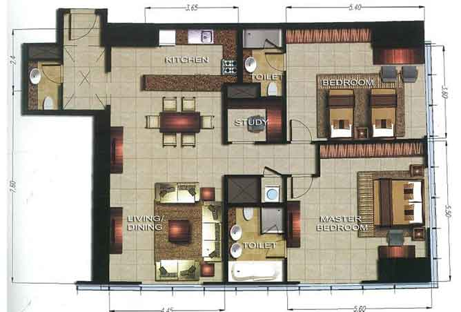 Gate Tower 2 Floor Plan 2 Bedroom Apartment 1506 Sqft