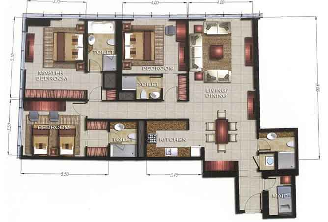Gate Tower 2 Floor Plan 3 Bedroom Apartment 1617 Sqft
