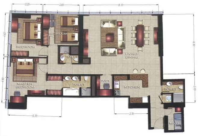 Gate Tower 2 Floor Plan 3 Bedroom Apartment 1809 Sqft