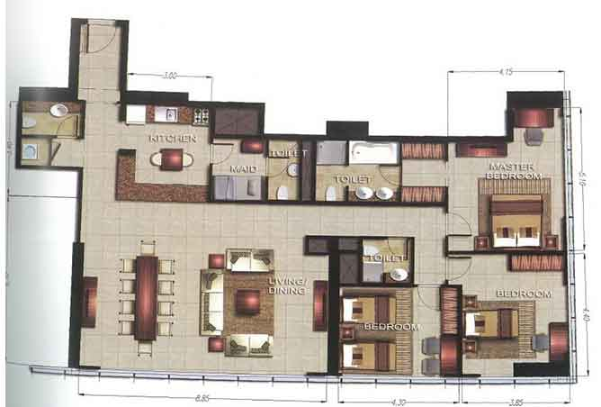 Gate Tower 2 Floor Plan 3 Bedroom Apartment 1834 Sqft