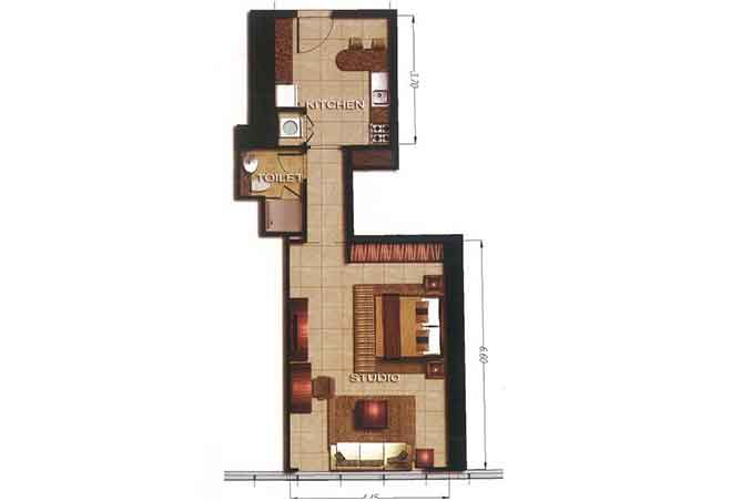 Gate Tower 2 Floor Plan Studio Apartment 613 Sqft