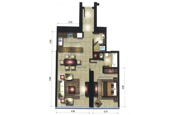 Gate Tower 3 Floor Plan 1 Bedroom Apartment 828 Sqft