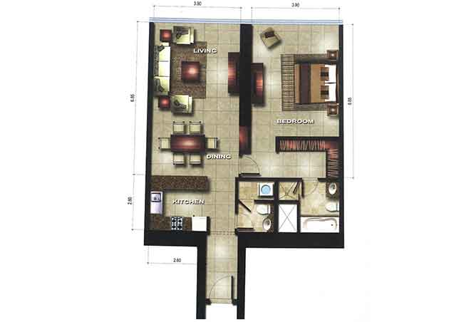 Gate Tower 3 Floor Plan 1 Bedroom Apartment 947 Sqft Type A