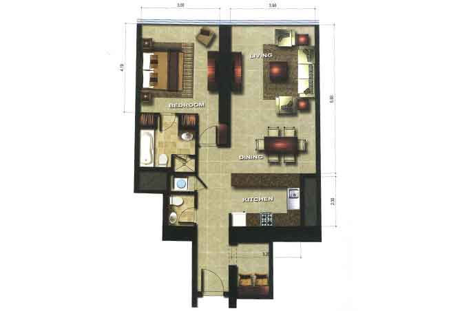 Gate Tower 3 Floor Plan 1 Bedroom Apartment 947 Sqft