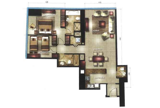 Gate Tower 3 Floor Plan 2 Bedroom Apartment 1205 Sqft