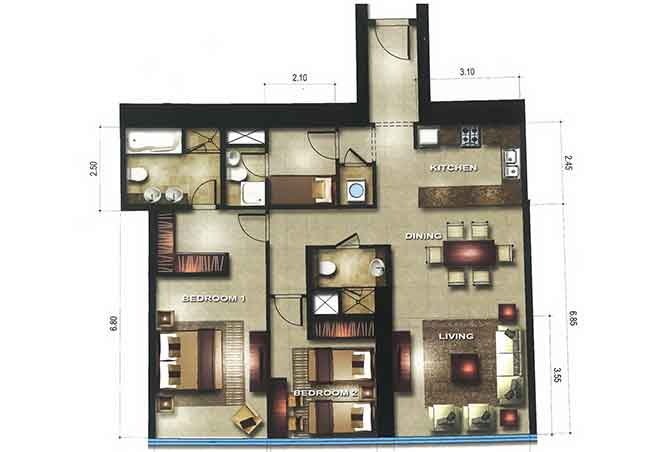 Gate Tower 3 Floor Plan 2 Bedroom Apartment 1248 Sqft
