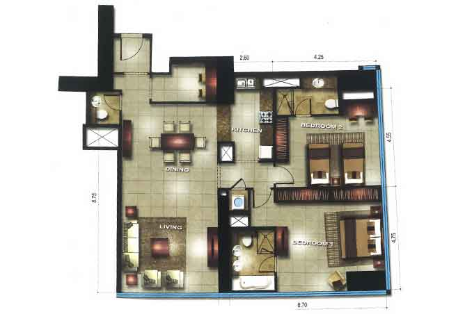 Gate Tower 3 Floor Plan 2 Bedroom Apartment 1399 Sqft