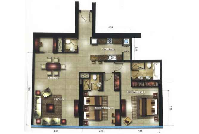 Gate Tower 3 Floor Plan 2 Bedroom Apartment 1442 Sqft