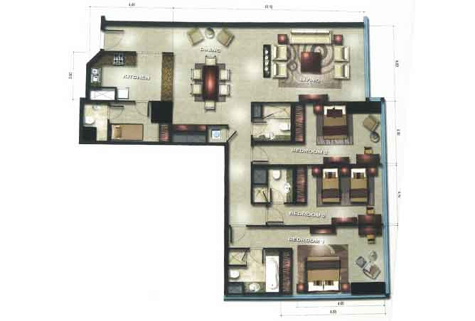 Gate Tower 3 Floor Plan 3 Bedroom Apartment 1883 Sqft