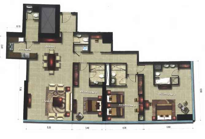 Gate Tower 3 Floor Plan 3 Bedroom Apartment 2120 Sqft