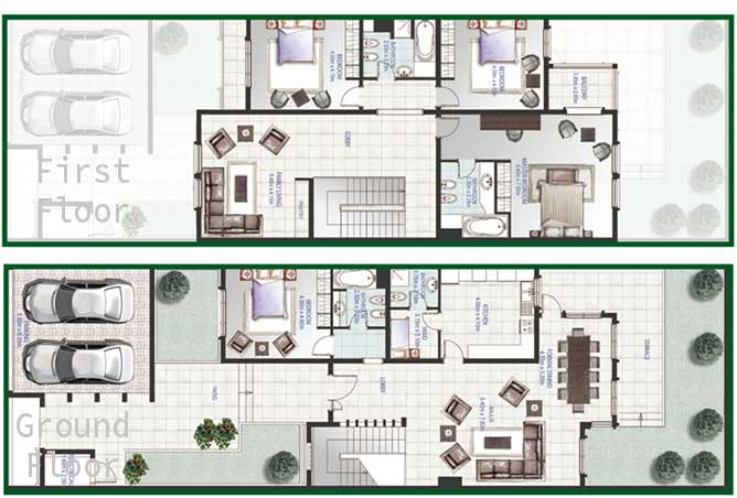 Golf Gardens Floor Plan Khuzama Townhouse 3 Bedroom 3681 Sqft