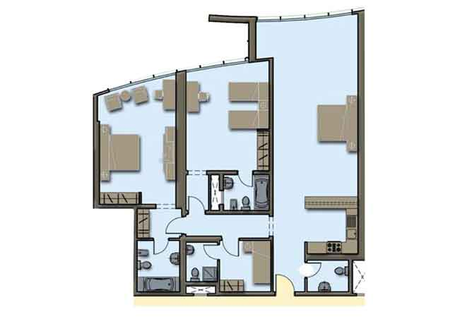 Hydra Avenue Floor Plan 2 Bedroom Apartment 1704 Sqft C4 C5 Type 2