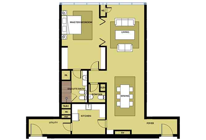 Mag 5 Residences Floor Plan 1 Bedroom Apartment