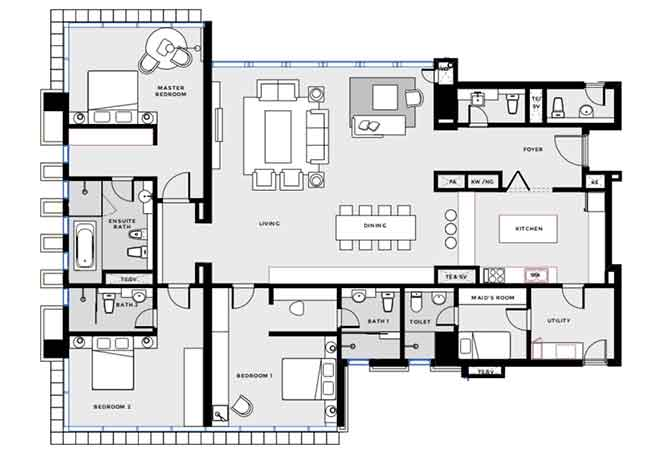 Mag 5 Residences Floor Plan 3 Bedroom Apartment