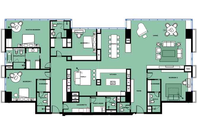 Mag 5 Residences Floor Plan 4 Bedroom Apartment