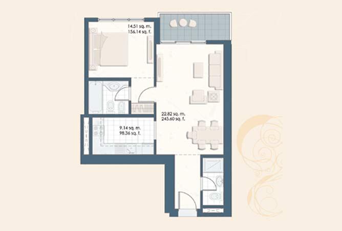 Mangrove Place Floor Plan 1 Bedroom Apartment a 3 726