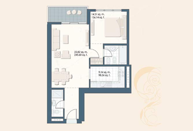 Mangrove Place Floor Plan 1 Bedroom Apartment a 3 dash 732