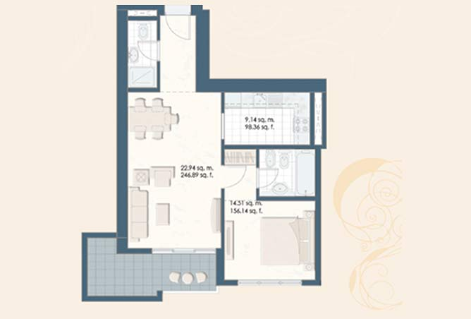 Mangrove Place Floor Plan 1 Bedroom Apartment a dash 766