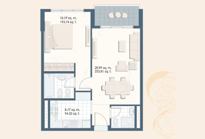 Mangrove Place Floor Plan 1 Bedroom Apartment b 1 793