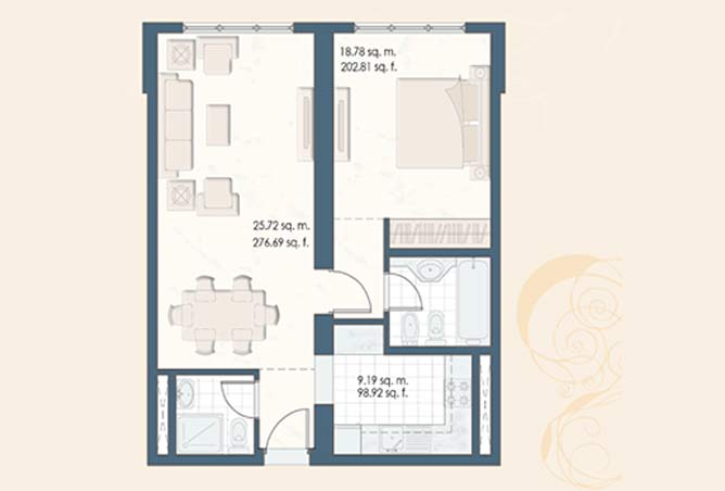 Mangrove Place Floor Plan 1 Bedroom Apartment c 701