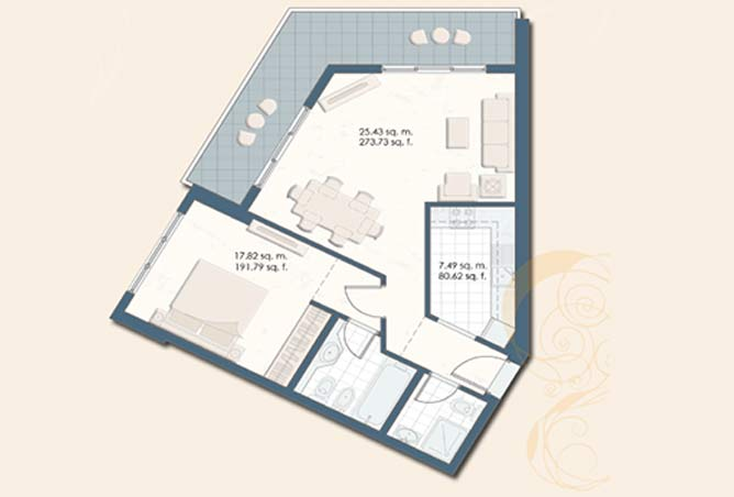 Mangrove Place Floor Plan 1 Bedroom Apartment d 846