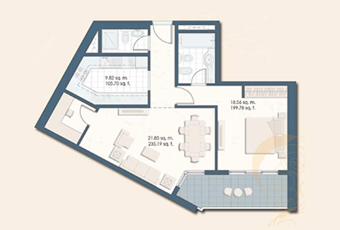 Mangrove Place Floor Plan 1 Bedroom Apartment e 876