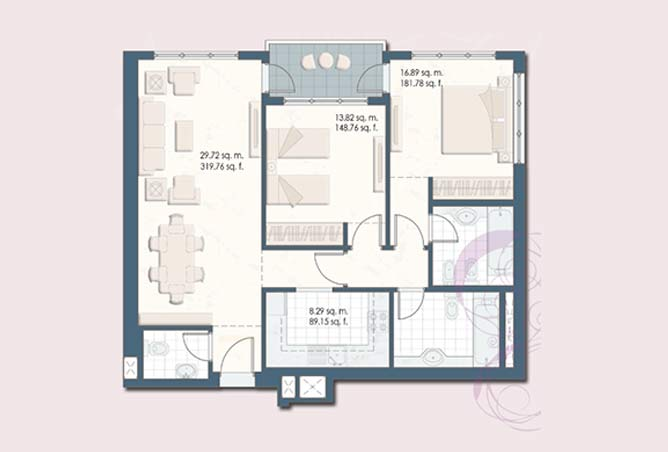 Mangrove Place Floor Plan 2 Bedroom Apartment a 1046