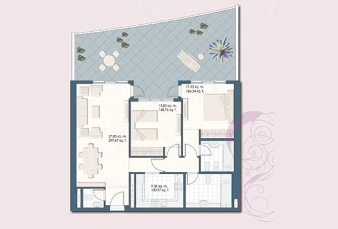 Mangrove Place Floor Plan 2 Bedroom Apartment a 3 1524