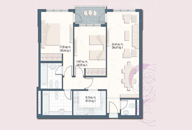 Mangrove Place Floor Plan 2 Bedroom Apartment a 6 1034